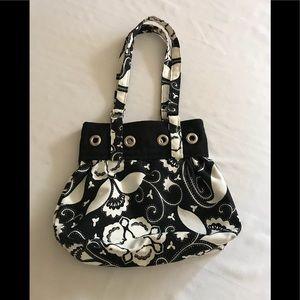 Handbags - Black wand White floral canvas bag